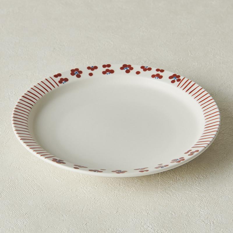 【砥部焼 すこし屋】5.5寸皿 mix赤小紋