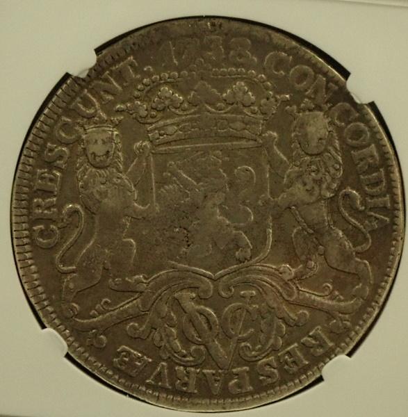 オランダ領東インド会社(VOC)、1738年発行デュカトーン銀貨、KM130.2、Sch-43b(RRR)