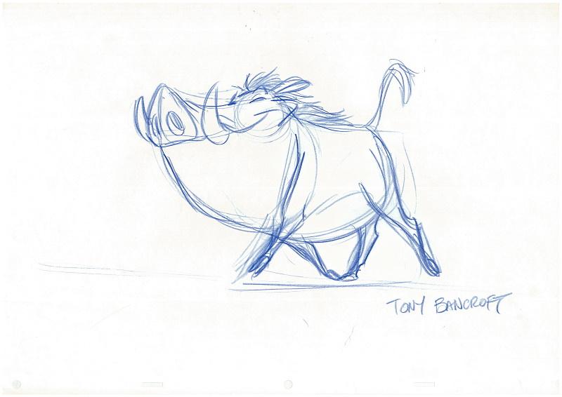 ディズニー映画「ライオンキング」で実際に使わたのプンバァのドローイング