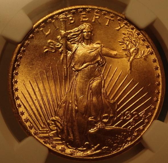 アメリカ1924年20ドル、NGC-MS67高鑑定