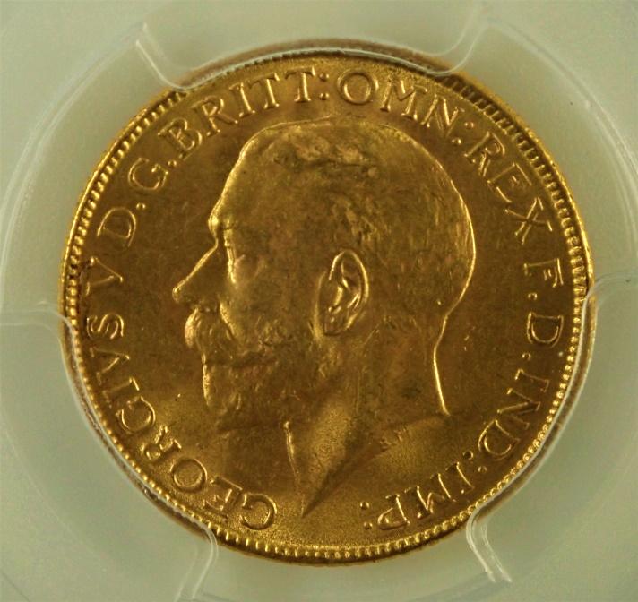 インドで1918年に発行された1ソブリン金貨、ジョージ5世(ボンベイ鋳)S-3998