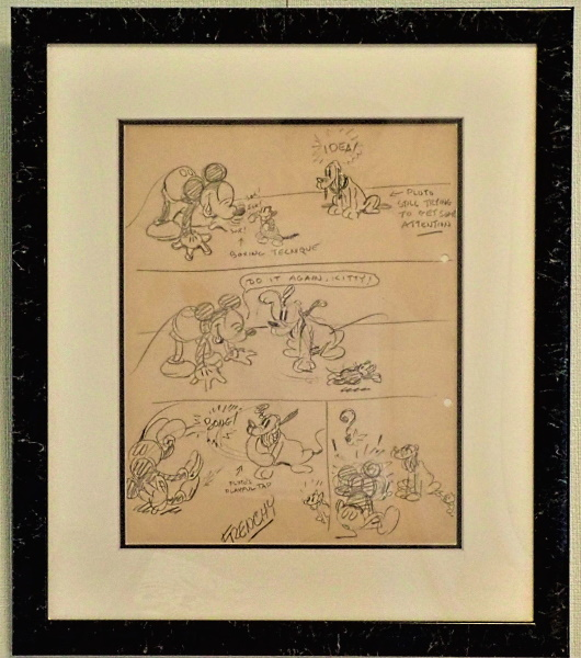 初期ディズニー映画「Mickey's Orphans」のストーリーボード(額入り)