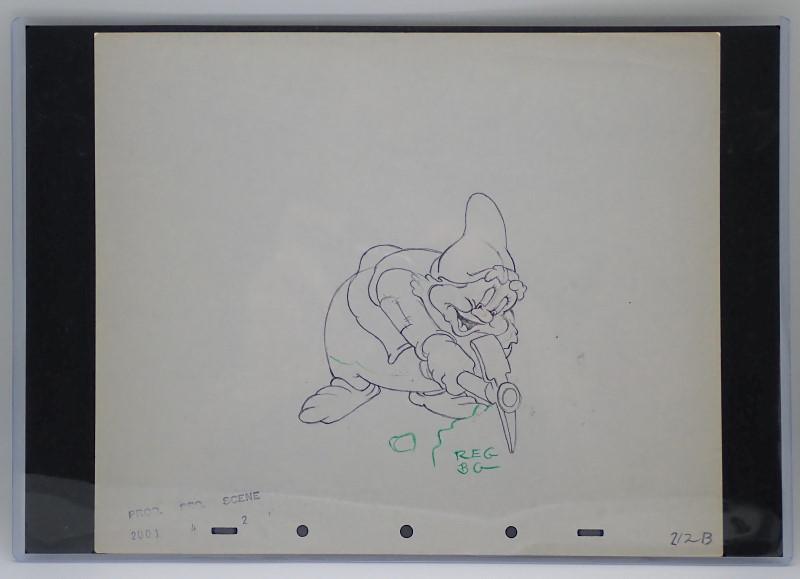 映画「白雪姫と七人のこびと」の作成過程で作られた、こびと(ハッピー)のドローイング