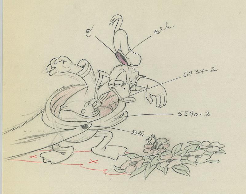 ディズニー映画「ミッキーの猛獣がリ(Moose Hunters )」の手描きドローイング原画 [CGC社の鑑定済みケース入り]
