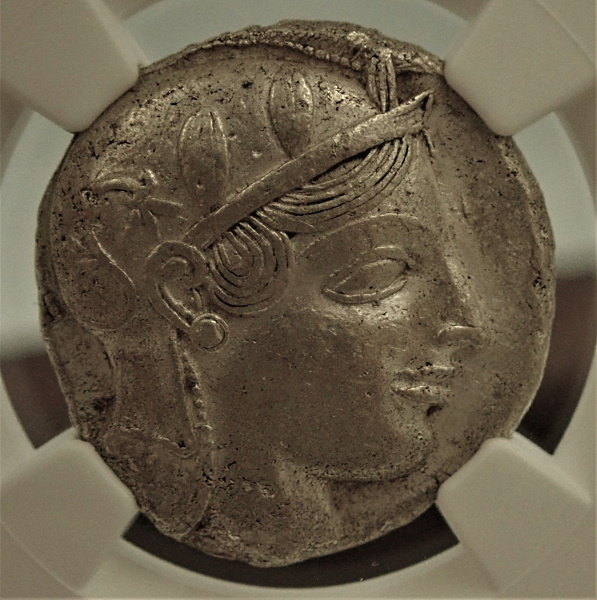 古代アテネのテトラドラクマ銀貨「ふくろう君」移行期(紀元前455-440年)