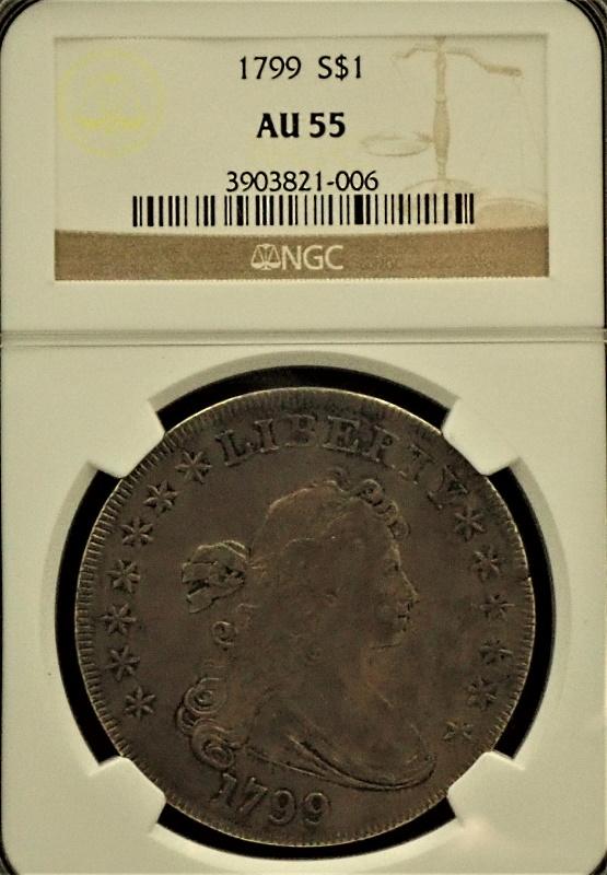 1799年にアメリカで発行された初期1ドル銀貨、希少銘柄(Rarity-3/注)希少な状態