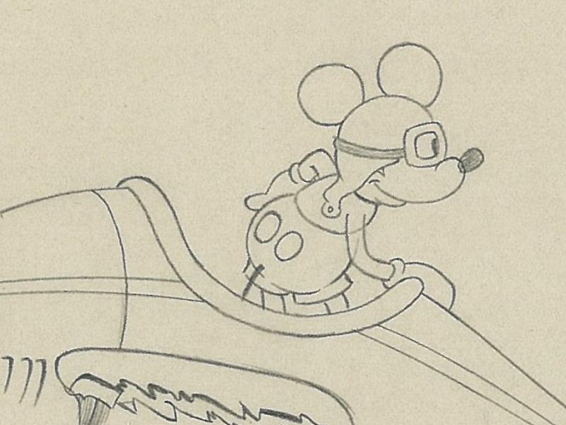ディズニー映画「ミッキーの空の英雄(The Mail Pilot )」の手描きドローイング原画  [CGC社の鑑定済みケース入り]