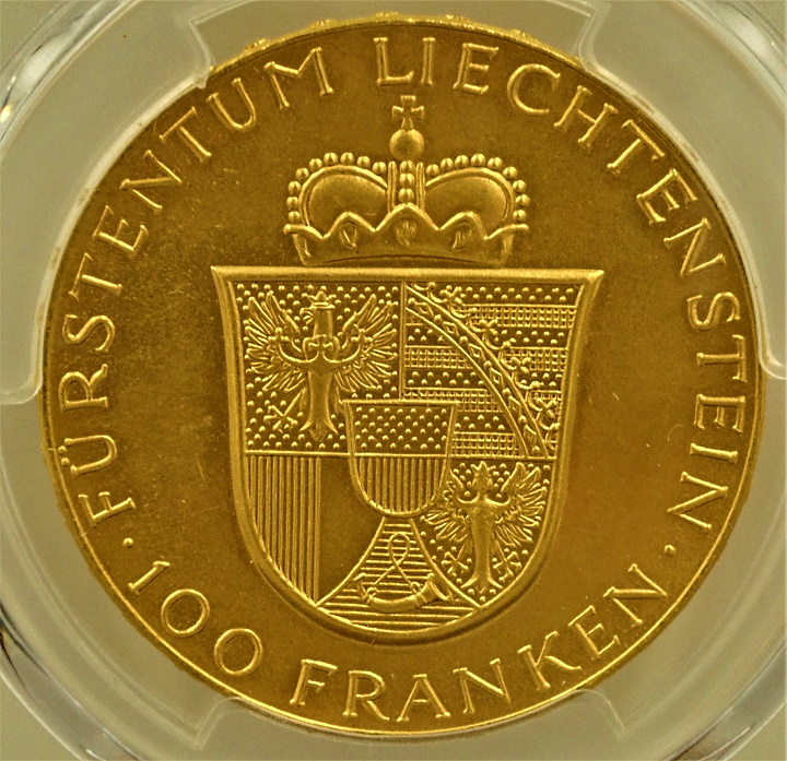 リヒテンシュタインで1952年に発行された100フランケン金貨、Fr-19、KM-Y17
