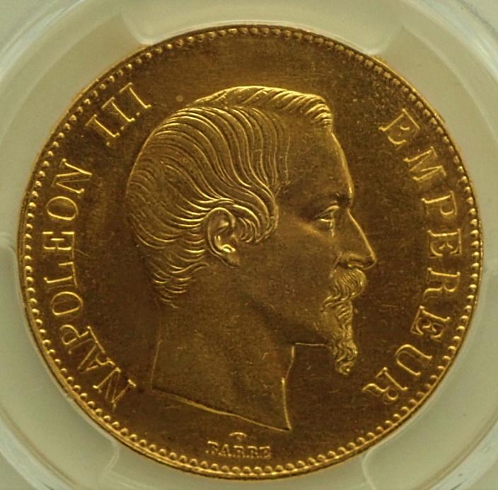 フランスのナポレオン3世時代に発行された100フラン金貨(無冠)、1858年-A(パリ)