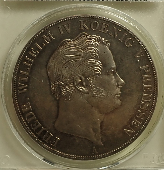 1850年プロシアで発行された2ターレル銀貨、フリードリッヒ・ヴィルヘルム4世