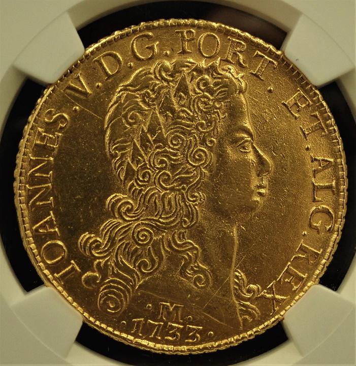 ブラジルで1733年に発行された12,800レイス金貨、フォアン5世Mミント、KM-139