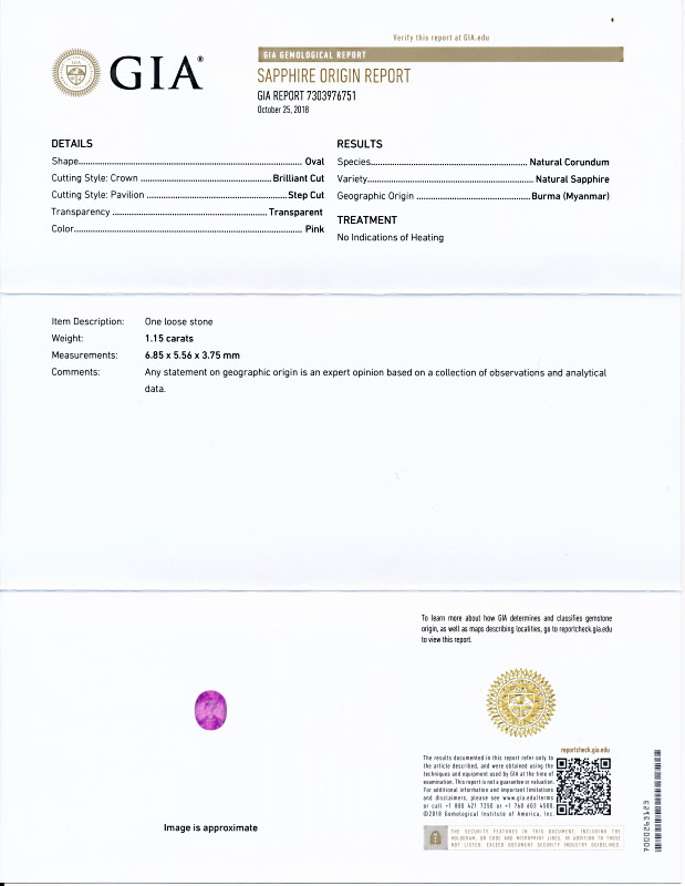 ミャンマー産、非加熱のピンク・サファイア2<1.15カラット>