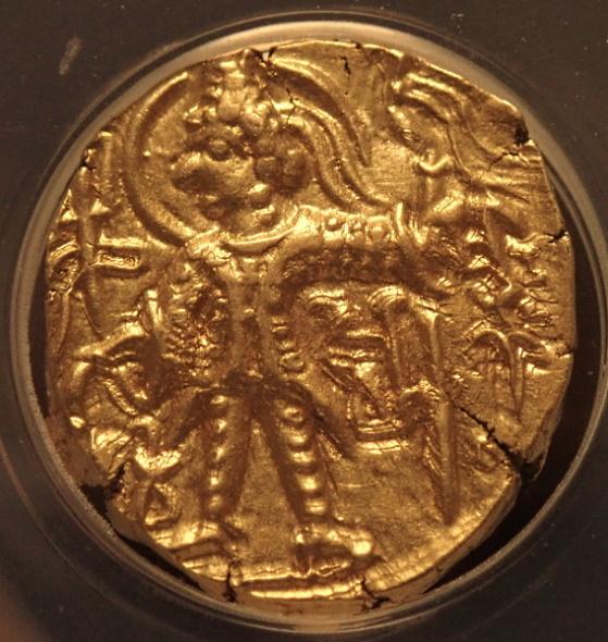 古代インド、クシャン朝シャカ王(AD325-345)時代のディナール金貨、Mitchiner3570-3580、Fr-45b