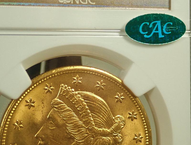 アメリカ1904年、20ドル金貨、リバティヘッド(CACラベル)