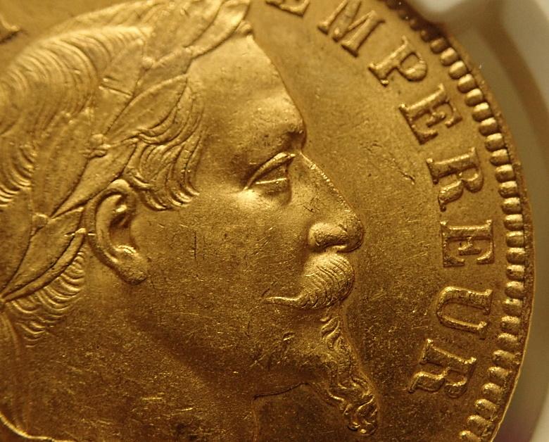 ナポレオン100フラン、1866年BB(ストラスブール鋳)