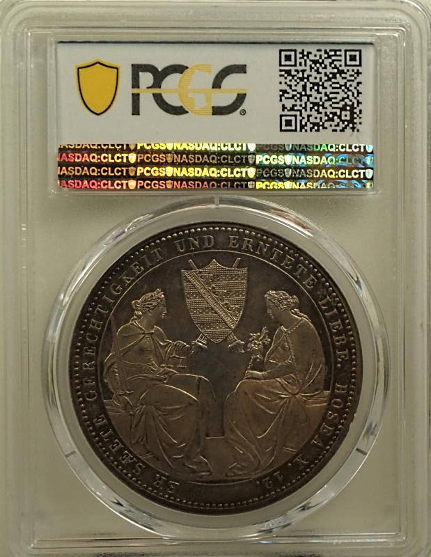 ドイツのザクセンで1854年に発行された2ターレル「フリードリッヒ・アウグスト2世追悼コイン」KM-1183