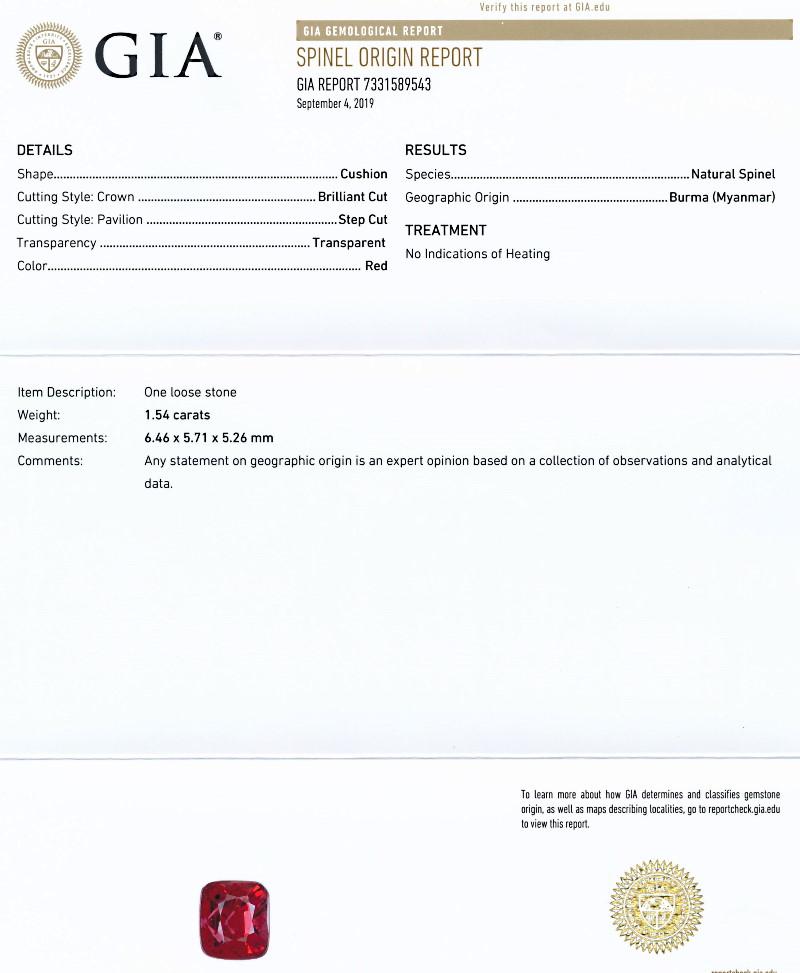 ミャンマー産、無処理のレッドスピネル<1.54カラット>