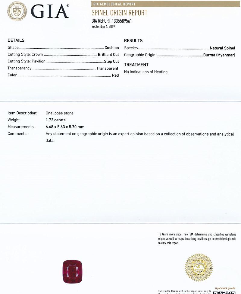 ミャンマー産、無処理のレッドスピネル<1.72カラット>(最高色)