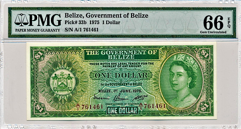 ベリーズで1975年に発行された1ドル紙幣