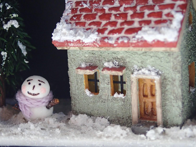 雪だるまと小さなおうち(ミントグリーン)