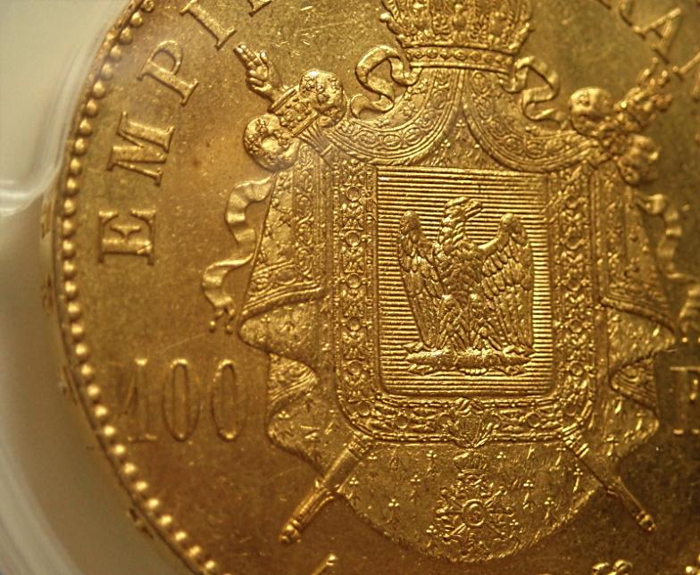 フランスのナポレオン3世時代に発行された100フラン金貨(有冠)、1868年-A(パリ)