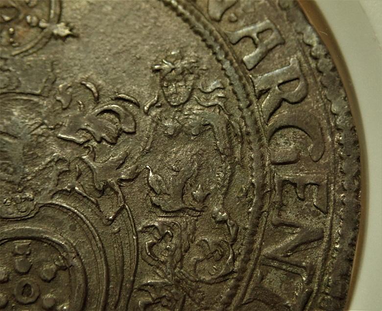 ドイツのエルフルト自由都市1617年発行の初期ターレル、高鑑定KM-19.1