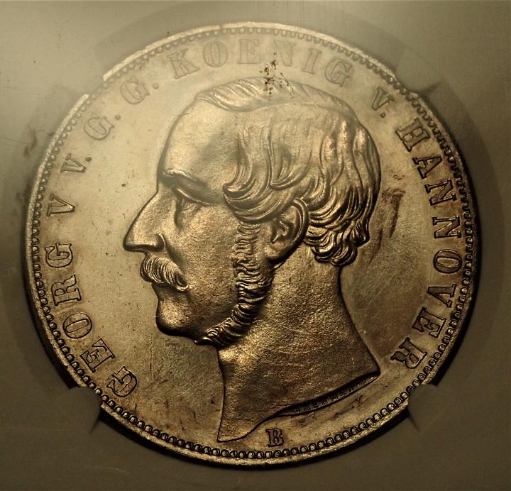 ドイツのハノーファーで1866年に発行された2ターレル、プルーフ貨
