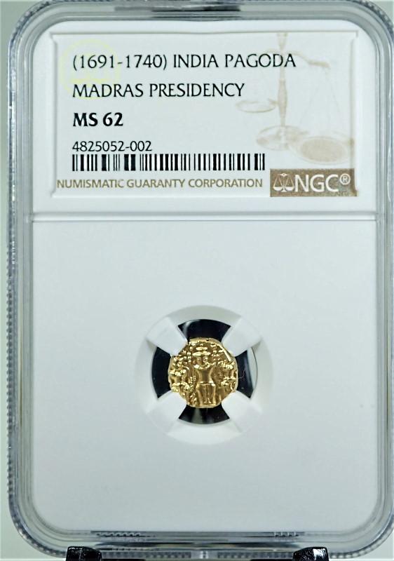 インド、イギリス・マドラス保護領で1691年から1740年にかけて造られた1パゴダ金貨