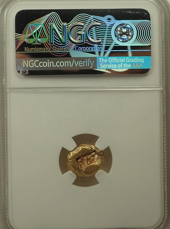 古代リディアで発行された1/3スターテル、世界最初期の打刻金貨