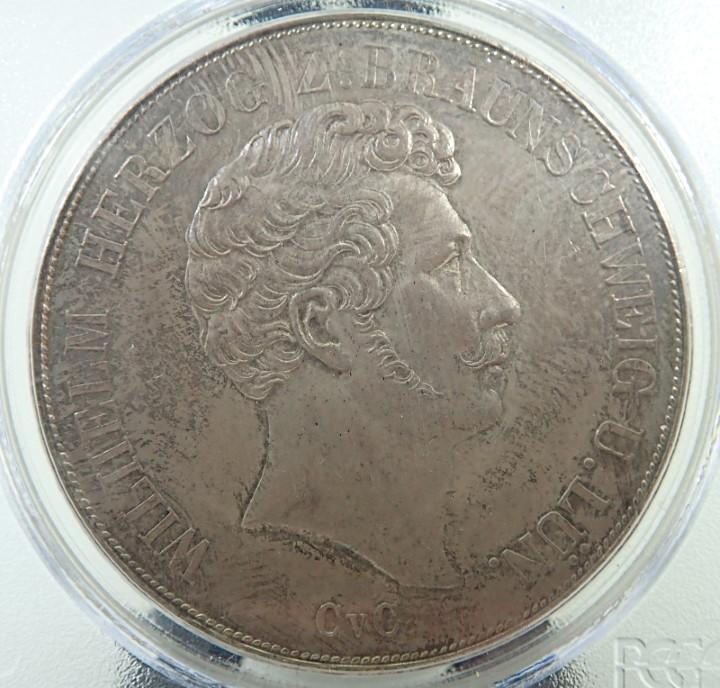 1843年鋳造、ドイツ、ブラウンシュバイク・ウォルフェンビュッテルの2ターレル銀貨