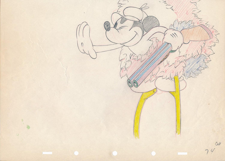 """「ミッキーの""""猛獣狩り」で使われたドローイング"""