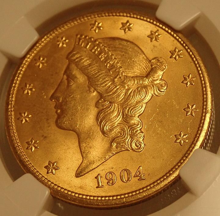 アメリカ1904年発行、リバティヘッド20ドル金貨、MS65+高鑑定