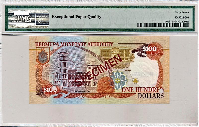 イギリス領バミューダ諸島で1994年に発行された100ドル見本紙幣