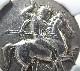 古代イタリアのタレントゥムで造られた2ドラクマ銀貨(BC332-302年)