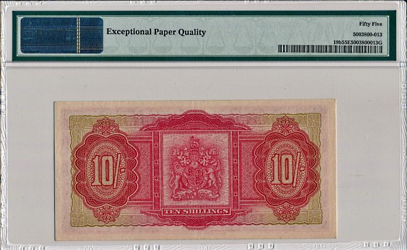 バミューダで1957年に発行された、エリザベス2世の10シリング紙幣、Pick19b