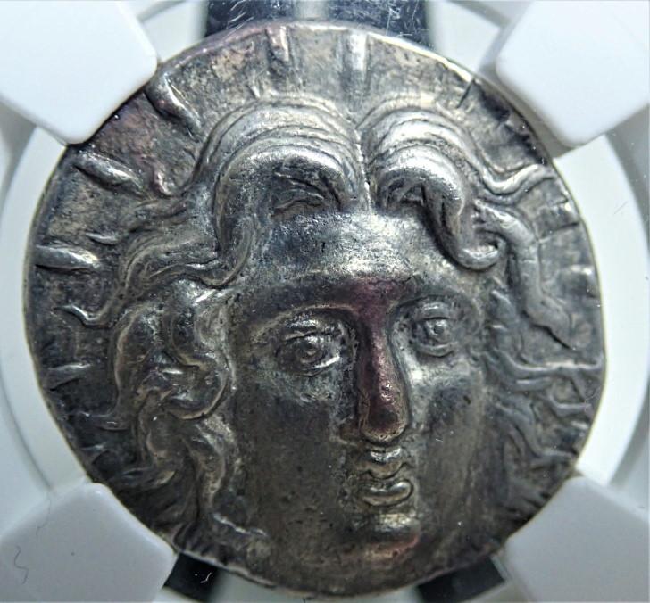 ロードス島カリアで造られたテトラドラクマ銀貨(BC230-205年)