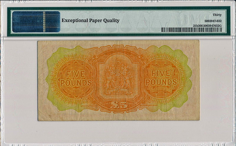 バミューダで1957年に発行された、エリザベス2世の5ドル紙幣、Pick21b