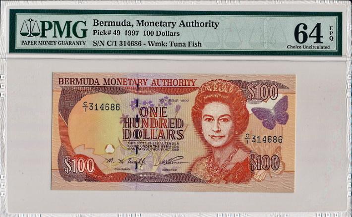 バミューダで1997年に発行された、エリザベス2世の100ドル紙幣、Pick49