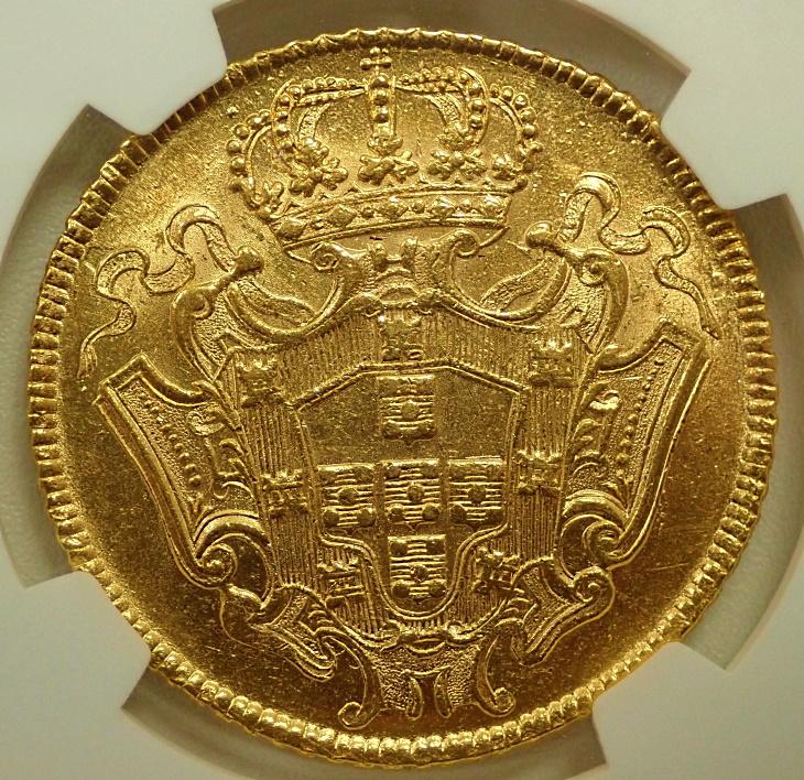 ブラジル、フォアン5世時代に発行された12,800レイス金貨、Mミント