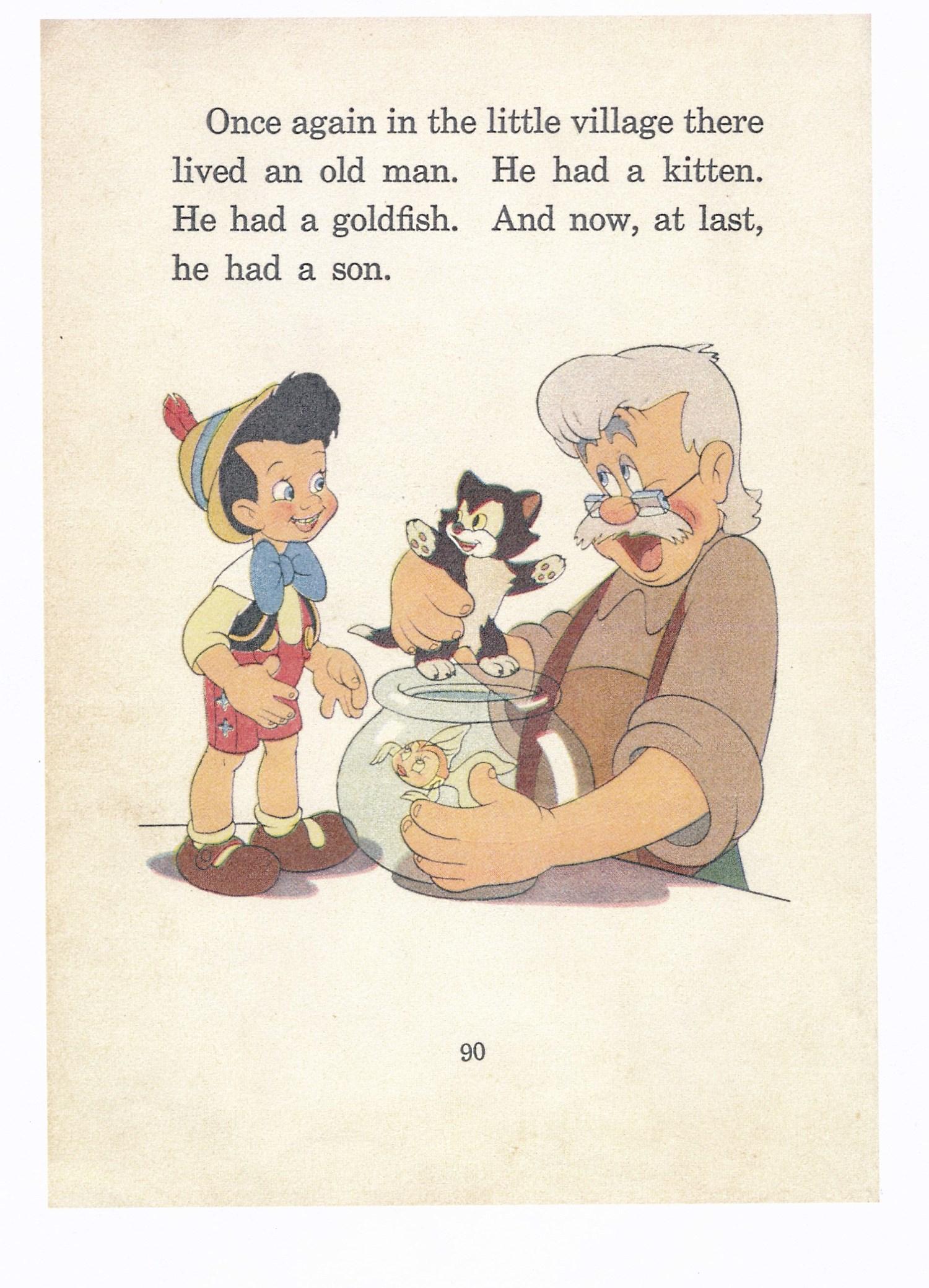 ピノキオの絵本で使われた絵の下絵原稿