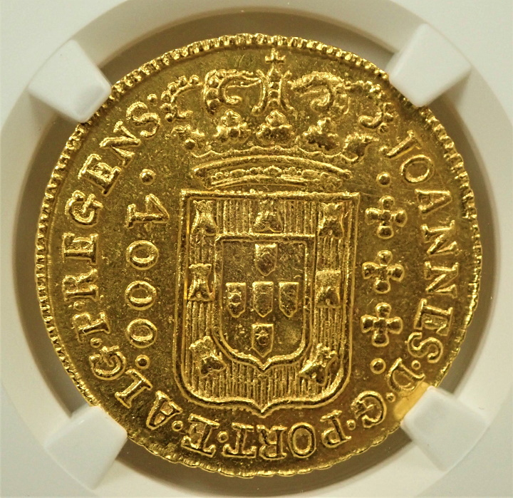 ブラジルで1814年に発行された4,000レイス、KM-252.2、1814(R)