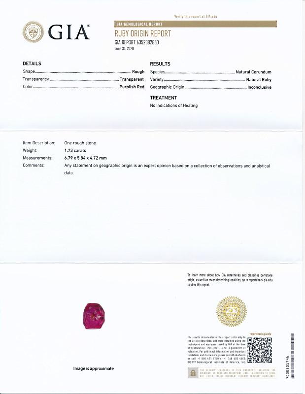 ミャンマー産、非加熱のルビー原石<1.73カラット>(GIA鑑別書付き)