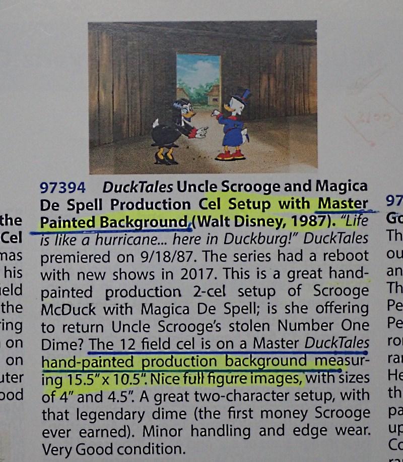 アニメ映画「ダックテール」で実際に使われた、スクルージとマジカ・デ・スペルのプロダクション・オリジナルセル画(手描き背景画版)