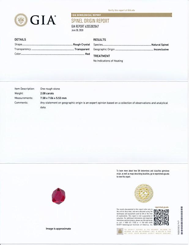 ミャンマー産、無処理のレッドピネル原石<2.08カラット>(GIA鑑別書付き)