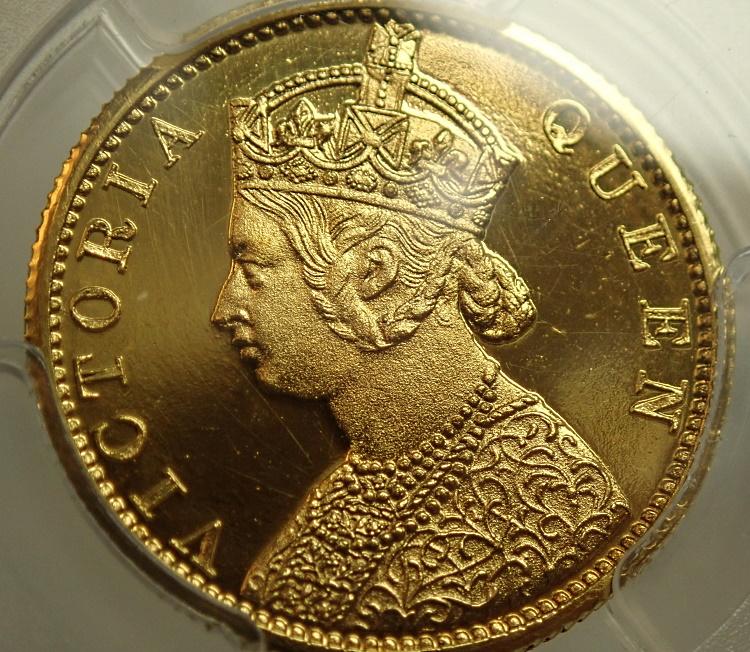 イギリス領インド1870年ヴィクトリアの10ルピー、プルーフ貨、KM-479