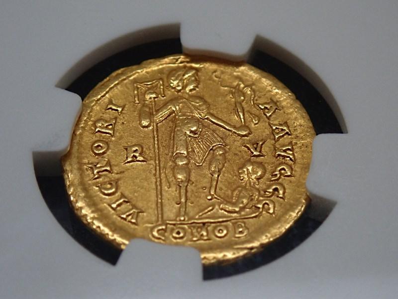 西ローマ帝国、ホノリウス帝、AD393-423年、ソリダス金貨(重量4.48g)