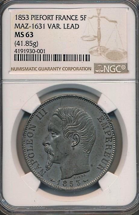 フランス、ナポレオン3世1853年、ピエフォー(倍厚)鉛打ち5フラン