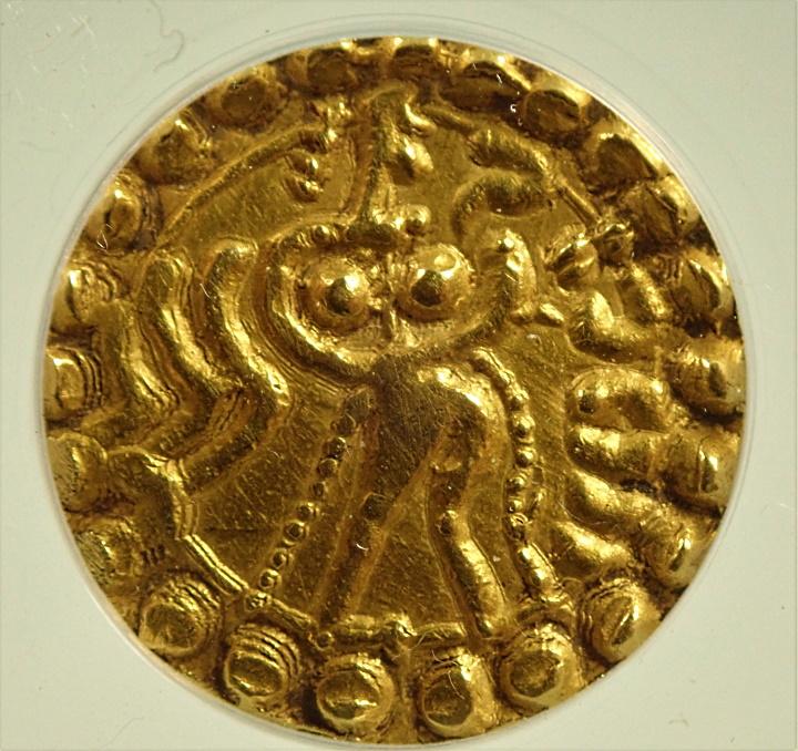 古代インド、ベンガルのカドガ朝時代に造られたディナール金貨、Mitchiner-200.64