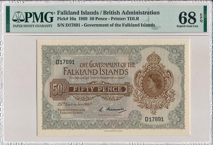 フォークランドで1969年に発行された、エリザベス2世の50ペンス紙幣、Pick10a