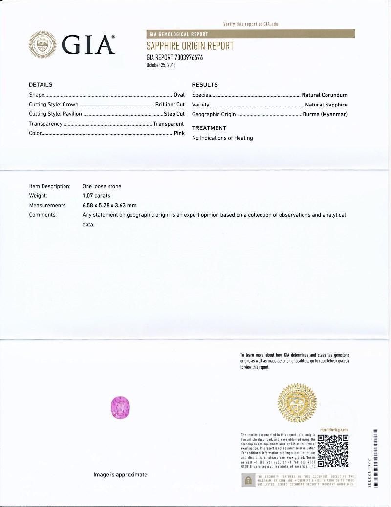 ミャンマー産、非加熱のピンク・サファイア1<1.07カラット>